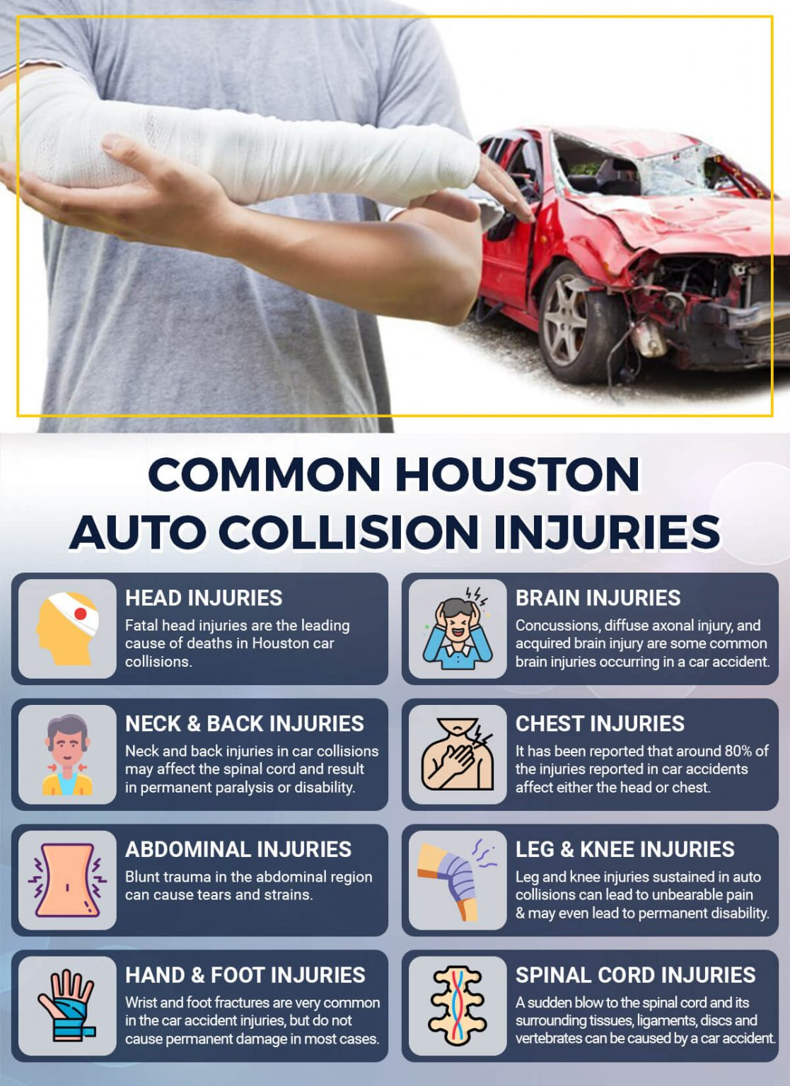 here are some of the injuries you can have after a car accident and can claim compensation against with the help of Pusch & Nguyen lawyers